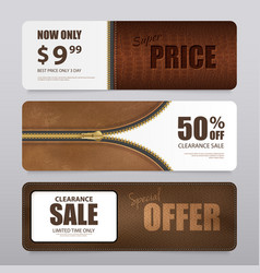 realistic leather texture sale banners vector image vector image