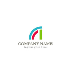 shape curve colored company logo vector image