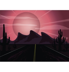 Sunset in the desert vector image vector image