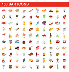 100 bar icons set isometric 3d style vector image
