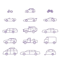 Car types outline icons set vector image