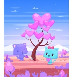 Cat watering a tree on which grow heart vector image vector image