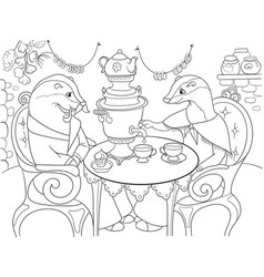 family of badgers in their house in the kitchen vector image vector image