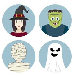 Halloween character set Witch mummy ghost vector image vector image