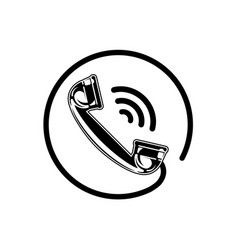 handset icon with waves phone icon telephone vector image