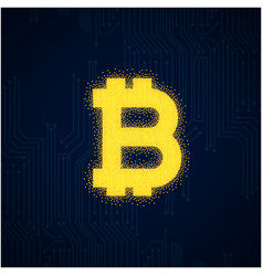 outline bitcoin sign textured with dark blue backg vector image