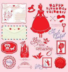 set of vintage postcards post stamps envelope vector image