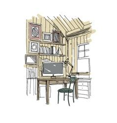 Sketch interior design comfortable workplace vector image