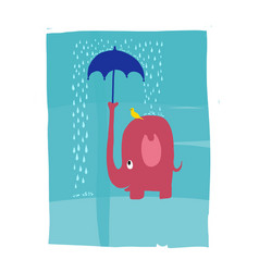 A pink elephant protecting a bird from rain vector