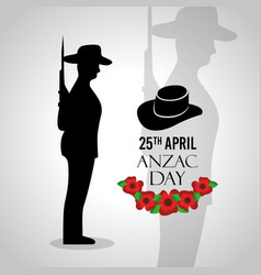 Anzac day celebration card memory national vector
