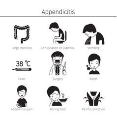 appendicitis symptoms icons set monochrome vector image