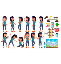 Asian girl poses set high school child vector