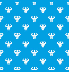 Athletic man torso pattern seamless blue vector