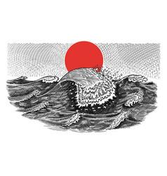atlantic tidal waves vintage storm japanese vector image