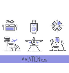 aviation icons set airline outline graphic vector image