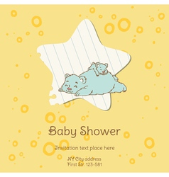 Baby Shower Card with Bear vector image