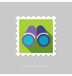 Binocular flat stamp with long shadow vector image