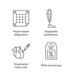 Bioengineering linear icons set diagnostics vector