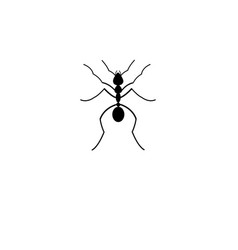 black silhouette ant icon vector image