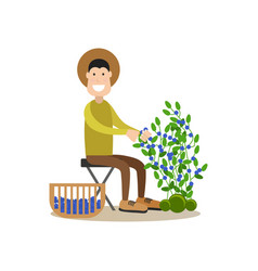 blueberry hunter people concept flat vector image