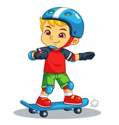 boy excersicing with his skateboard vector image