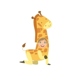 Boy Wearing Giraffe Animal Costume vector