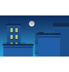 Building landscape at night art vector