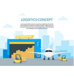 cartoon air cargo transportation delivery service vector image