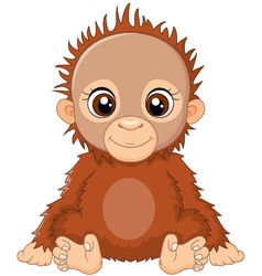 Cartoon baby orangutan sitting vector