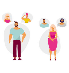 Cartoon characters man and woman think and dream vector