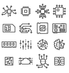 Computer chips icons set vector