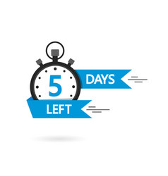 countdown with left 5 day timer with 3 day go vector image