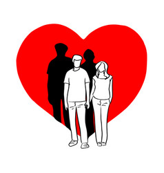 couple holding hand on big red heart shape vector image