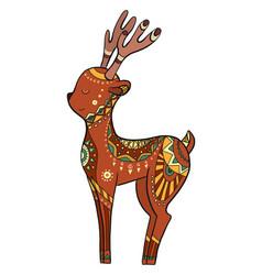 cute coloring cartoon deer with boho pattern vector image