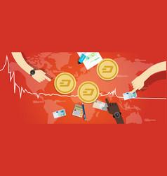 dash coin decrease exchange value digital virtual vector image