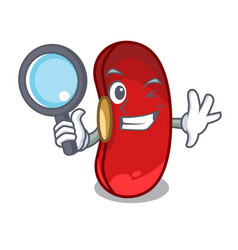 detective red bean in the cartoon bowl vector image