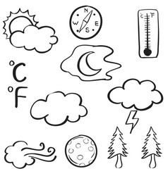 Doodle of weather with cloud tree wind moon vector