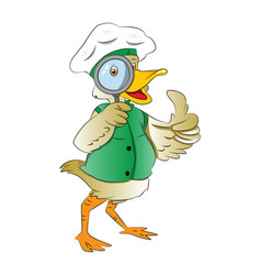Duck looking through a magnifying glass vector