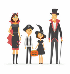 Family at halloween party - cartoon people vector