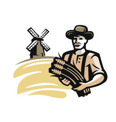 Farmer with wheat vector