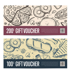 Fast food restaurant gift voucher set vector