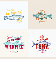 fishing labels set abstract signs symbols vector image