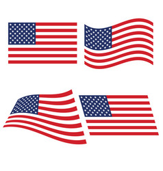 flag of the united states in various variants of vector image