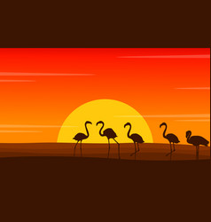 flamingo lined scene at sunset silhouettes vector image