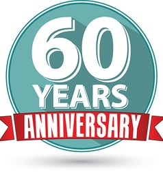 Flat design 60 years anniversary label with red vector image