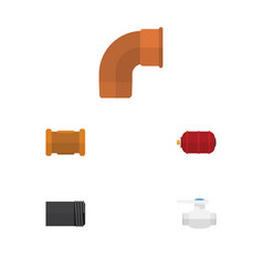 Flat icon industry set of container iron pipe vector