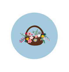 Flower basket circle icon sticker vector
