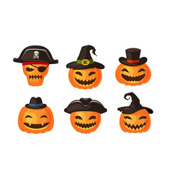 funny pumpkins in hats halloween symbol cartoon vector image