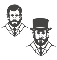 gentleman head with vintage hat design elements vector image