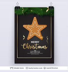 Gingerbread star cookie and text on dark banner vector